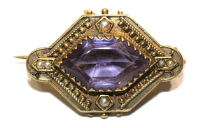 Antique 15ct Yellow Gold Pink Amethyst and Seed Pearl Brooch