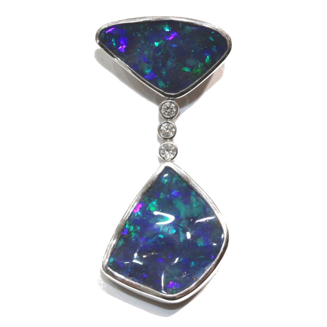 18k Solid Black Opal and Diamond Pendant