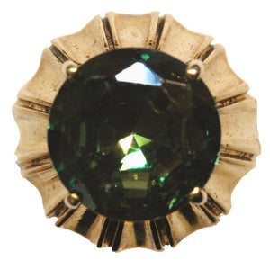 Vintage 9ct Yellow Gold Natural Green Tourmaline Cocktail Ring