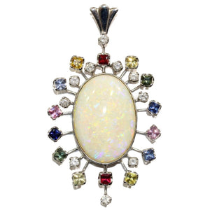 18ct White Gold Solid Opal, Assorted Sapphires and Diamond Pendant