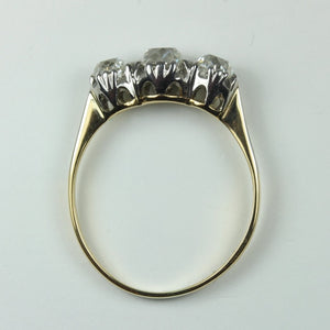 Antique 18ct Yellow Gold Old Cut Diamond Trilogy Ring
