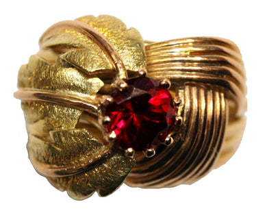 Vintage Retro 18ct Yellow Gold Ruby Cocktail Ring