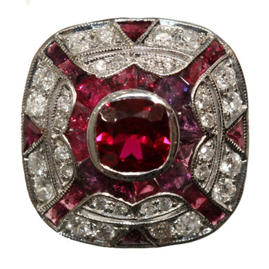 9ct White Gold Cushion Cut Ruby and Diamond Cocktail Ring