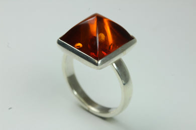 Sterling Silver Sqaure Cut Baltic Amber Ring