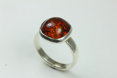 Sterling Silver Cabochon Baltic Amber Ring