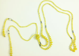 Flapper Lariat Necklace - Yellow Blown Glass and Rock Crystal
