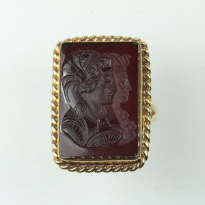 9ct Yellow Gold Carved Carnelian Egyptian Gods Ring