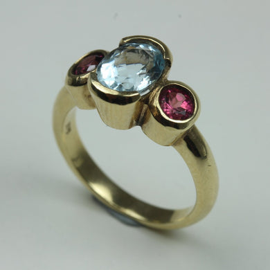 9ct Yellow Gold Tourmaline And Aquamarine Ring