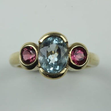 9ct Yellow Gold Aquamarine and Pink Tourmaline Dress Ring