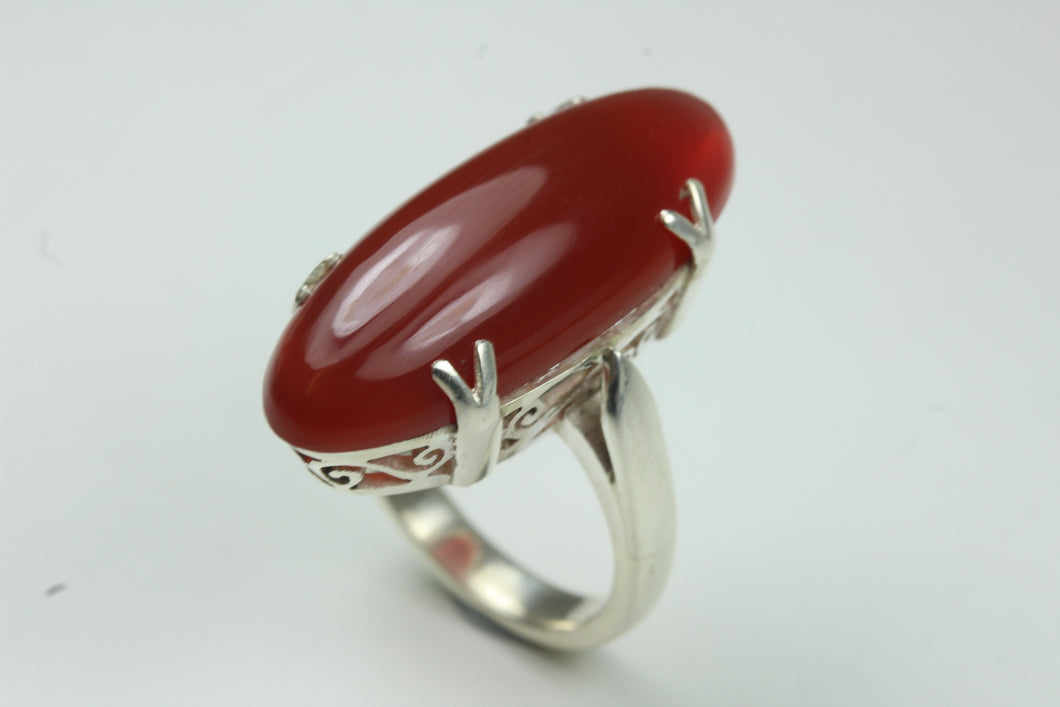 Natural Cut Claw Set Carnelian Sterling Silver Ring