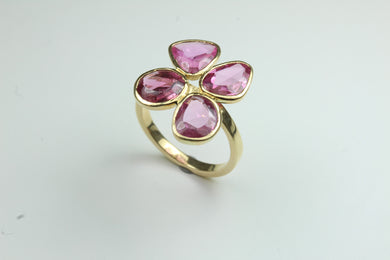 Flat Cut Pink Sapphire 9ct Gold Ring