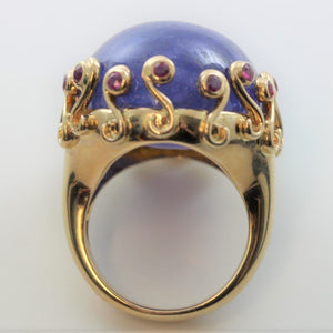9ct Yellow Gold 67.02ct Cabochon Tanzanite and Pink Sapphire Cocktail Ring