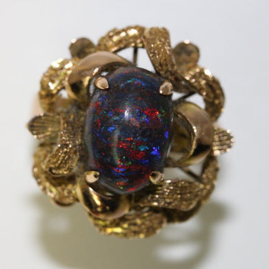 Vintage 18ct Yellow Gold 8.41ct Black Matrix Opal Dress Ring