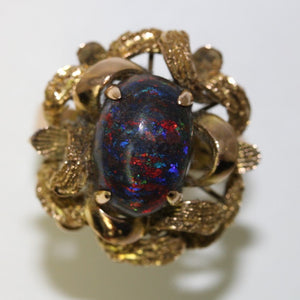 8.41ct Black Opal Ring