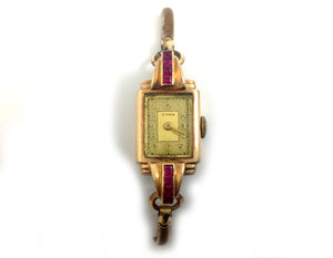 CYMA Wristwatch with Ruby in 9ct gold.