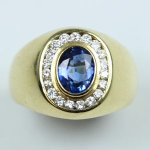 Retro 14ct Yellow Gold 1.24ct Sapphire and Diamond Ring