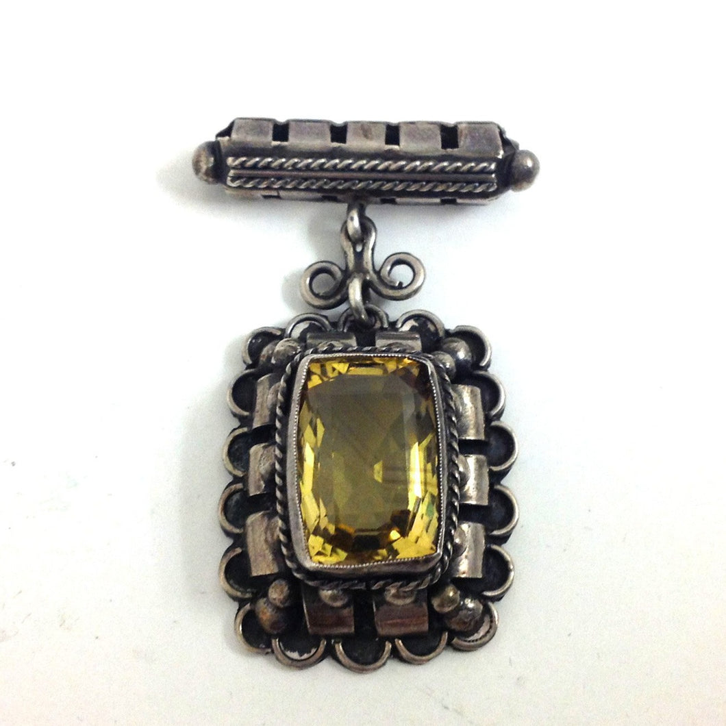 Antique Sterling Silver Citrine Brooch - Sydney Silversmith Alan G Davis