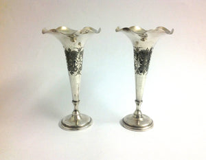 Pair of Silver Flute Vases