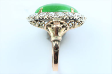 Natural Jade and Diamond Ladies Ring