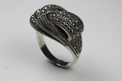 Sterling Silver Wave Design Marcasite Ring