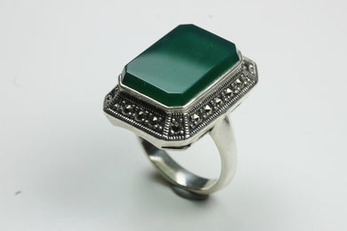Sterling Silver Rectangular Green Onyx Marcasite Ring