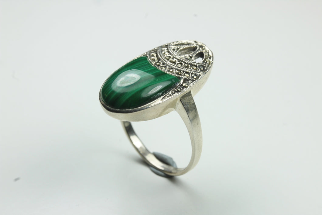 Sterling Silver Malachite And Marcasite Ring