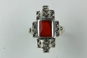 Sterling Silver Carnelian Shield Marcasite Ring