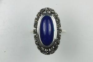 Sterling Silver Oval Lapis Lazuli Marcasite Ring