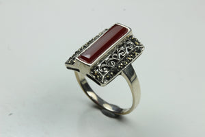 Sterling Silver Carnelian Filigree Marcasite Ring