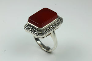 Sterling Silver Rectangular Carnelian Marcasite Ring