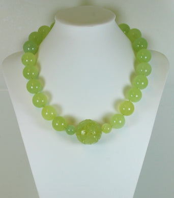 Mutton Fat Nephrite Jade Beaded necklace with central Large floral carved bead and sterling Silver hook clasp