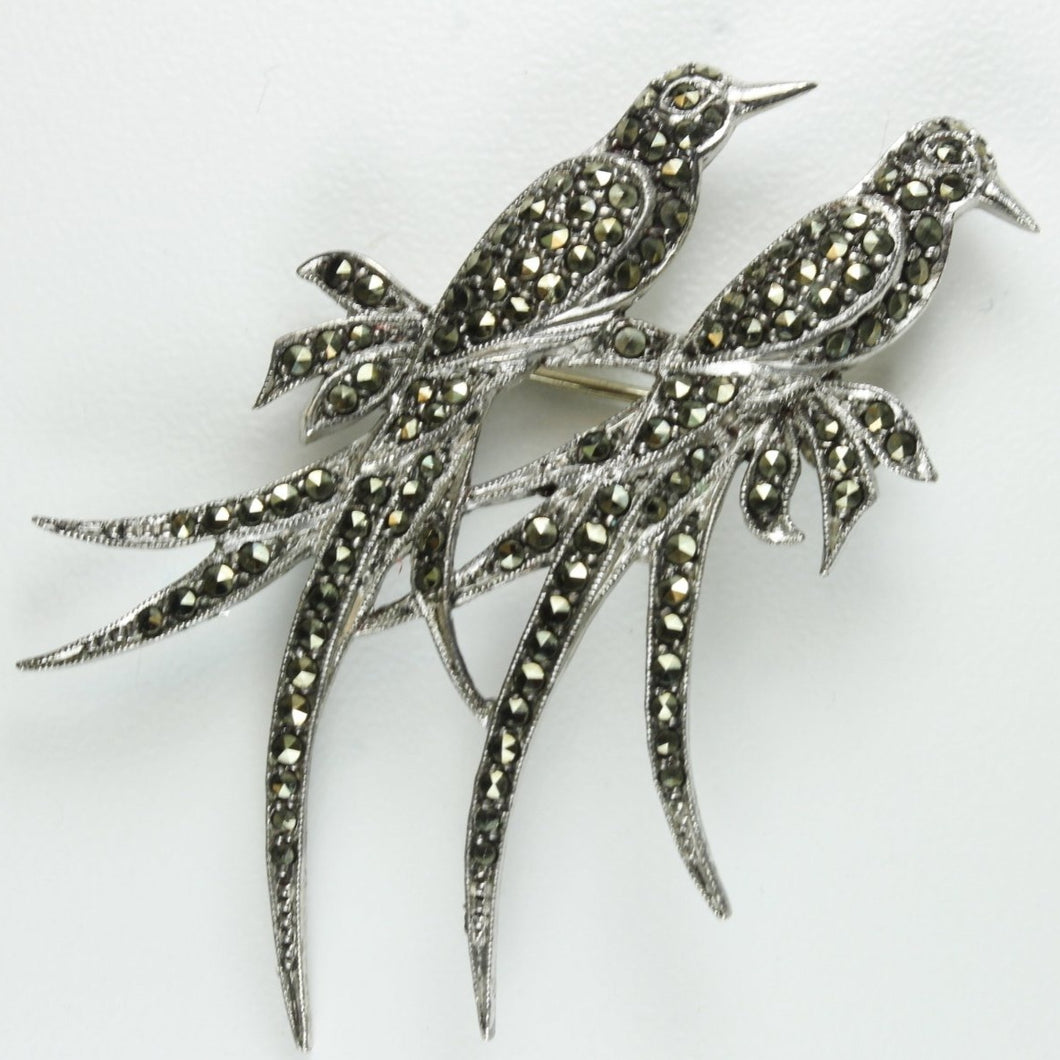 Antique Sterling Silver Marcasite Love Bird Brooch