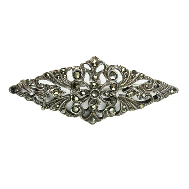 Antique Sterling Silver Marcasite  Rhombus Brooch