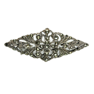 Antique Rhombus Shaped Sterling Silver Marcasite Brooch