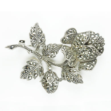 Antique Sterling Silver Marcasite Rose Brooch