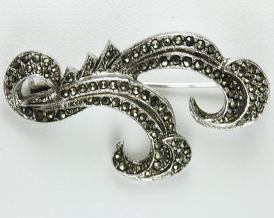 Antique Fern Sterling Silver Marcasite Brooch