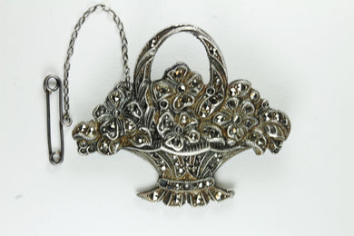 Antique floral bouquet Sterling Silver Marcasite Brooch With Safety Chain