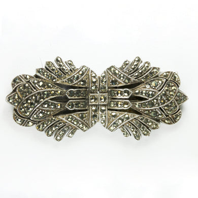 Antique Symmetrical Sterling Silver Marcasite Brooch With Detachable Clips