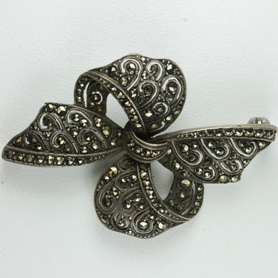 Antique Ribbon Sterling Silver Marcasite Brooch