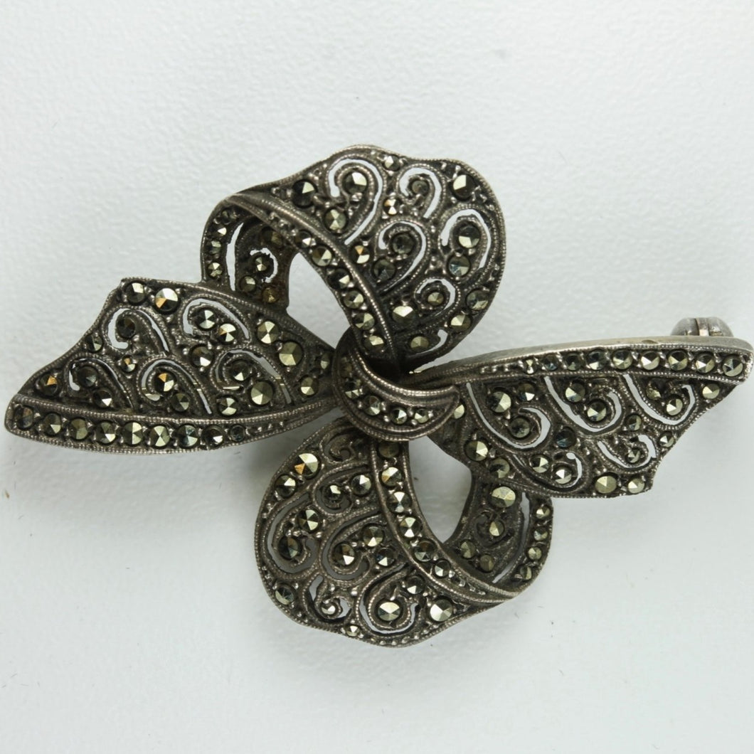 Antique Sterling Silver Marcasite  Ribbon Brooch