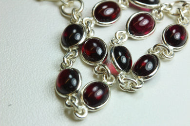 Natural Cut Garnet and Sterling Silver Bracelet
