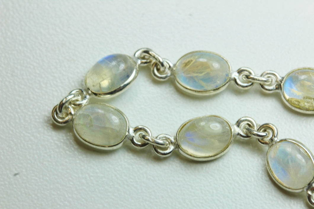 Natural Cut Moonstone and Sterling Silver Bracelet