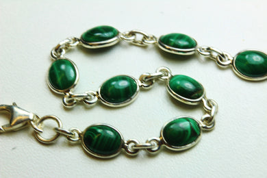 Natural Cut Malachite and Sterling Silver Bracelet