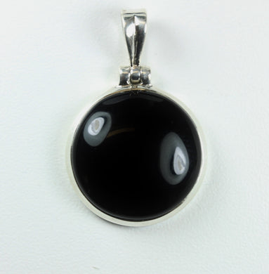Natural Cut Onyx Cabochon Sterling Silver Pendant