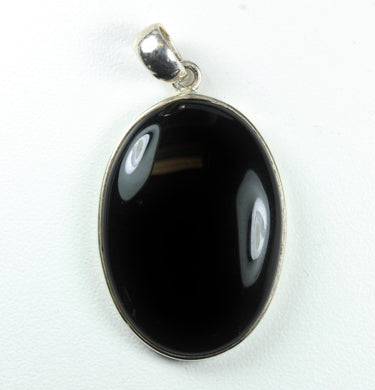 Natural Cut Oval Onyx Cabochon Sterling Silver Pendant