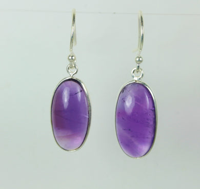 Natural Amethyst Cut Oval Onyx Cabochon Sterling Silver Earrings