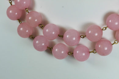 Rose Quartz Beaded Necklace With Sterling Silver Hook Clasp