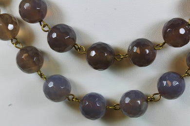Smokey Quartz Faceted Beaded Necklace With Sterling Silver Hook Clasp