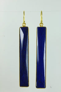 Lapis Lazuli Rectangular Cut Gold Plated Sterling Silver Hanging Earrings
