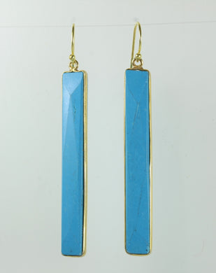 Turquoise Rectangular Cut Gold Plated Sterling Silver Hanging Earrings